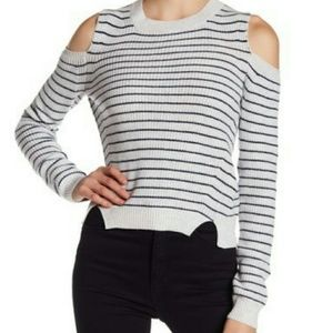 Lucky Brand Stripe Cold Shoulder Pullover Sweater